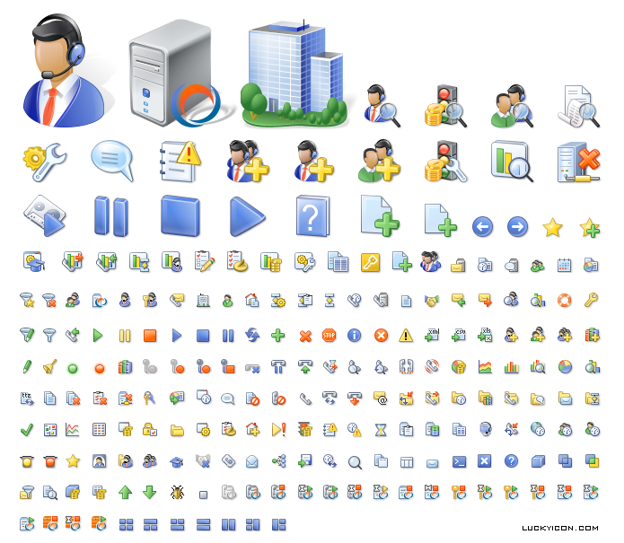Set of icons for program product by altitude.com