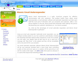 The website www.aresponder.com created for AtomPark Software