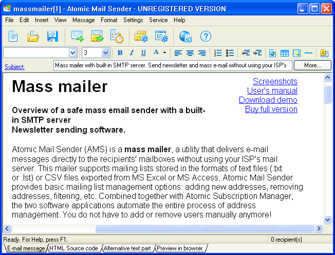 Program Atomic Mail Sender