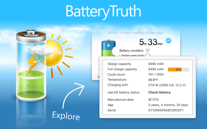 Picture for AppStore page - information about the battery