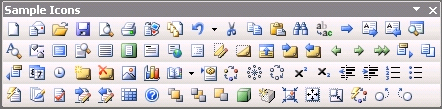 MS Office 2003 icons used as samples