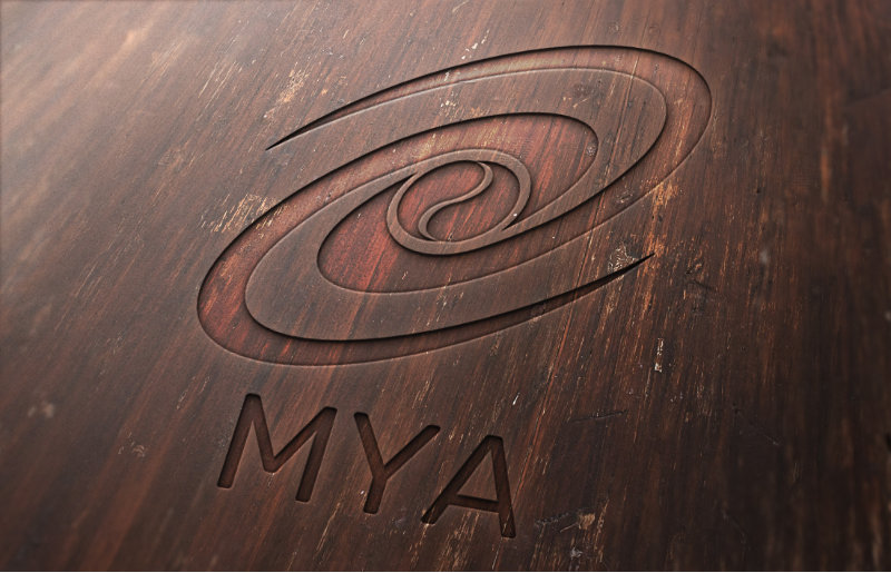 Laser engraving of logo on wood