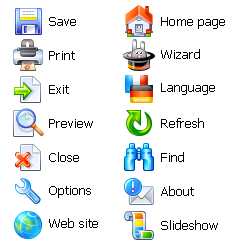 Advanced Set of standard icons for software toolbars and menus