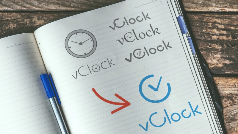Stages of creating a logo for the vClock company