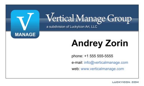Business card for Vertical Manage Group