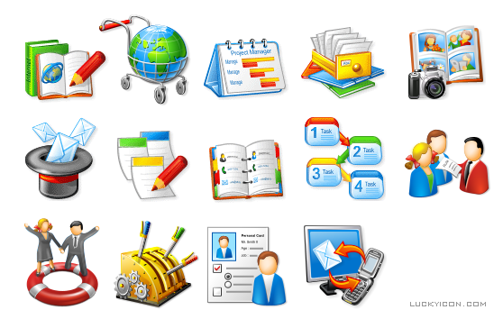 Set of icons for online collaboration software WebAsyst by WebAsyst LLC