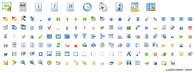 Set of icons for WinOrganizer by The Golden Section Labs