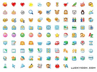 Set of icons and emoticons for program developed by Zango, Inc